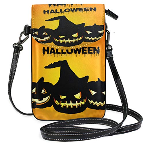 Small Crossbody Halloween Illustration Wallpaper Scary Cell Phonepurse-Women Leather Multicolor Smartphone Bags Purse With Removable Strap]()