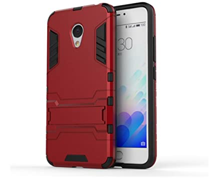Bllosem Meizu M3 note Case Hybrid Dual Layer PC+TPU Full Body Shock Resistant Armour with Kickstand Function Case for Meizu M3 note Red