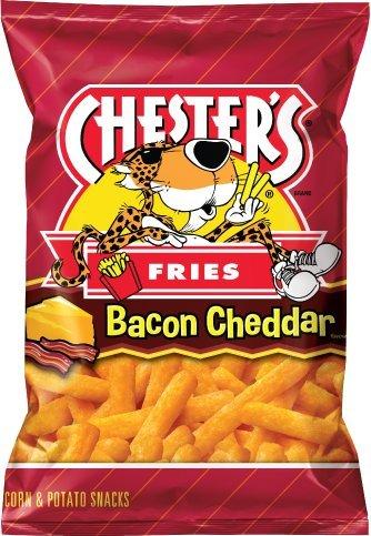 NEW CHESTER'S Bacon Cheddar Fries Flavored Corn & Potato Snacks Net Wt 2.5oz (1)