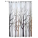 InterDesign Forest Fabric Shower Curtain, 72 x 72, Black/Gray