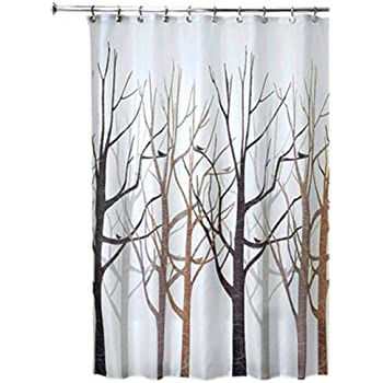 InterDesign Forest Fabric Shower Curtain 72 X Black Gray
