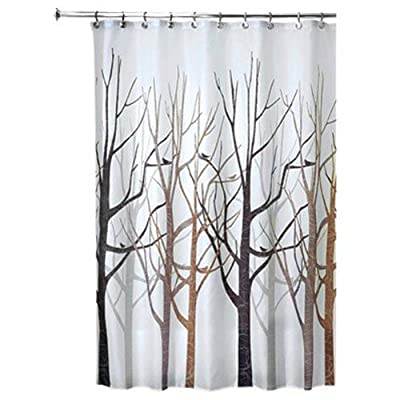 "iDesign Fabric Forest Shower Curtain for Master, Guest, Kids', College Dorm Bathroom, 72"" x 72"", Black and Gray - FABRIC SHOWER CURTAIN: high-quality wrinkle resistant 100% polyester black and gray fabric gives your shower stall a sleek look. Great for master bathroom, guest bathroom, child's bathroom, or basement bathroom STYLISH: Black and gray color scheme and beautiful forest print looks great with any decor REINFORCED BUTTON-HOLES: 12 reinforced button-holes are suitable for S hooks, shower rings, and other shower curtain hooks for easy hanging - shower-curtains, bathroom-linens, bathroom - 51PiWXiTYrL. SS400  -"
