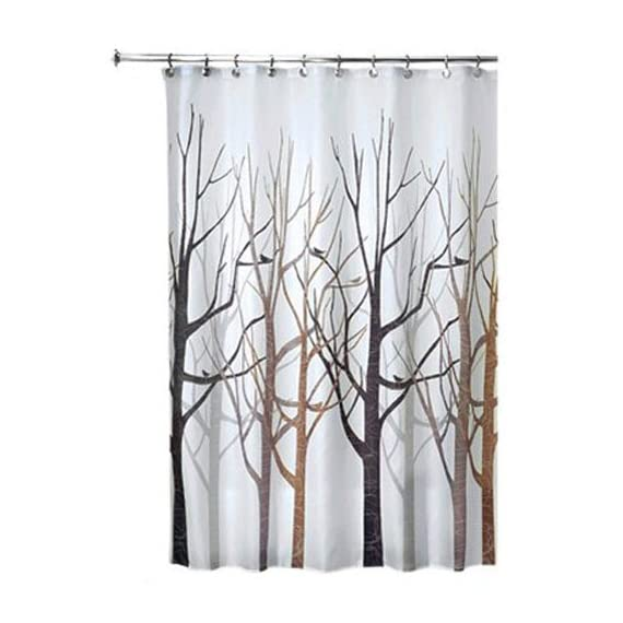 "iDesign Fabric Forest Shower Curtain for Master, Guest, Kids', College Dorm Bathroom, 72"" x 72"", Black and Gray - FABRIC SHOWER CURTAIN: high-quality wrinkle resistant 100% polyester black and gray fabric gives your shower stall a sleek look. Great for master bathroom, guest bathroom, child's bathroom, or basement bathroom STYLISH: Black and gray color scheme and beautiful forest print looks great with any decor REINFORCED BUTTON-HOLES: 12 reinforced button-holes are suitable for S hooks, shower rings, and other shower curtain hooks for easy hanging - shower-curtains, bathroom-linens, bathroom - 51PiWXiTYrL. SS570  -"