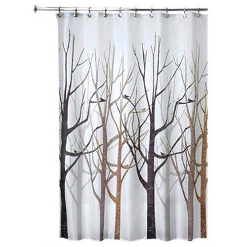51PiWXiTYrL - InterDesign Forest Fabric Shower Curtain, 72 x 72, Black/Gray