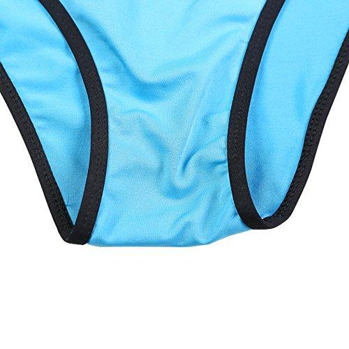 Sidiou Group Nuevo traje partido triángulo de baño por Señorita, Bikini bañador caliente (llamativo) de color sólido con borde negro,bañador de 90% poliéster Azul