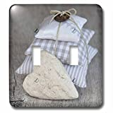 3dRose Andrea Haase Still Life Photography - Stack Of Fabric Pillows And Heart Photography - Light Switch Covers - double toggle switch (lsp_268184_2)