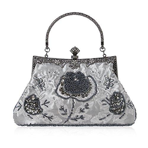 green Floral Bag Handbag JAGENIE Party Dark Wedding Vintage Beaded Prom Clutch Style Purse Gray Evening YYBxaOw
