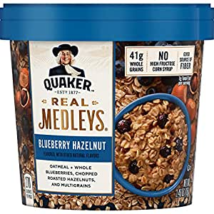 Quaker Real Medleys Oatmeal+, Blueberry Hazelnut, Instant Oatmeal+ Breakfast Cereal, 1 Cup