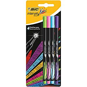 BIC Intensity Fineliner Felt Tip Pen Fine Point (0.8 mm) - Assorted Fashion Colours, Pack of 4 Fineliner Pens
