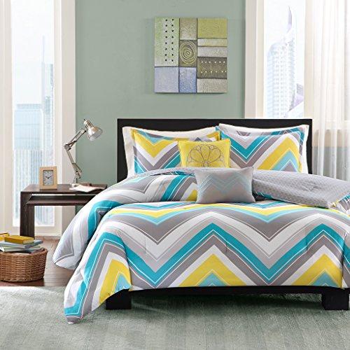 Intelligent Design Elise Comforter Set Twin/Twin XL Bedding Sets - Blue, Yellow, Grey, Cheveron - 4 Piece Teen Bed Set - Peach Skin Fabric Bed Comforter ()
