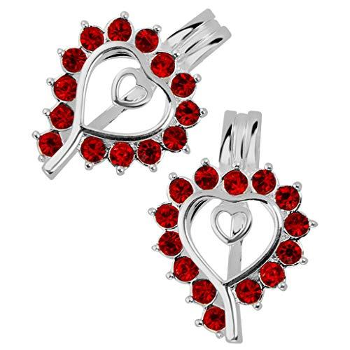 2pcs Heart Pendant Bead Cage Pendant Essential Oil Scent Diffuser Necklace Jewelry Crafting Key Chain Bracelet Pendants Accessories Best