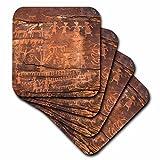 3D Rose USA-Southwest-Indian Petroglyphs on Sandstone Ceramic Tile Coasters, Multicolor