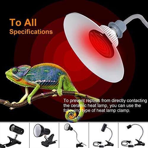 bedee Lampe Chauffante, Lampe Chauffante Poussin, E27 100W Lampe Céramique Chauffante, Ampoule Infrarouge Chauffage en Céramique pour Reptiles et Amphibiens