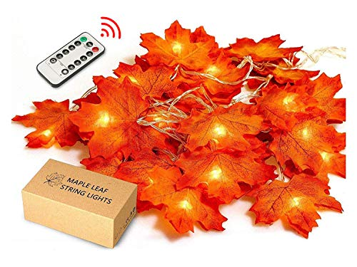 JamBer Maple Leaves String Light, 8 Blinking Modes with Remote/10Ft/Waterproof 20LED Garland Fairy Lights Suitable for Outdoor Wedding Party Fall Decor Christmas Thanksgiving Decorations(Warm White) (Party Fall Outdoor)