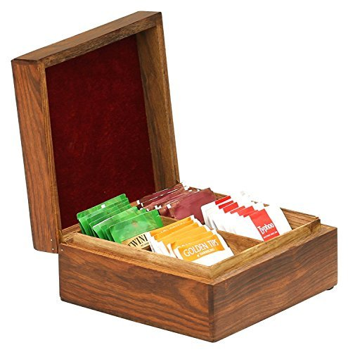 SALE - Premium Quality Coffee / Tea Box with 4 Compartments for Tea Bags / Coffee Sachets / Dry Milk & Sugar Packets - Natural Solid Wooden Large Nice Fancy Cabinet Chest by SouvNear