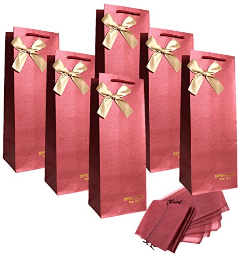 Zealax Wine Gift Bags - Especially for You - 6 Pcs Single Bottle Paper Bags with Gold Foiled Letters and 6 Pcs Sheer Organza Bottle Wrap Dresses for Wedding Favors, Birthday Party, Baby Shower (Wine Red Bulk)