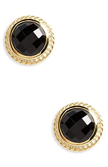 9f70dd429 Amazon.com: Anna Beck Designs 18k Gold-Plated Stud Earrings, Gold/Black  Onyx: Jewelry