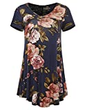 A.F.Y All For You Women's Short Sleeve V-Neck Flare Hem Floral Print Tunic Navy 70149 XX-Large