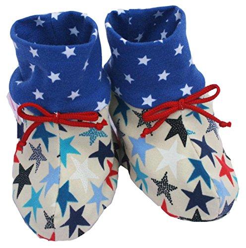 FARBGEWITTER - Baby Jungen Mädchen Schuhe Krabbelschuhe Puschen STERNE in creme (0-6 Monate)
