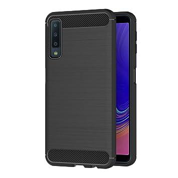 AICEK Funda Samsung Galaxy A7 2018, Negro Silicona Fundas para Samsung A7 2018 Carcasa Galaxy A7 2018 Fibra de Carbono Funda Case (A750 6,0 Pulgadas)