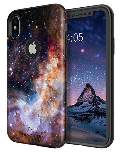 iPhone X Case,iPhone 10 Case,BENTOBEN Nebula Galaxy Universe Design Slim Shockproof 2 in 1 Hybrid Hard PC Flexible TPU Protective Phone Cover for Apple iPhone X/iPhone 10 5.8'', Blue/Purple