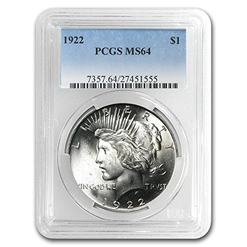 1922 Peace Dollar MS-64 PCGS $1 MS-64 - Coin Dollar 1922 Peace