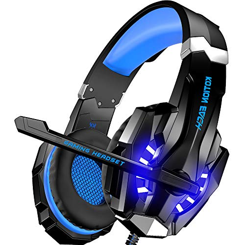 BENGOO [Updated] Stereo Gaming Headset for Xbox One, PS4, PC, Controller, Noise Cancelling Over Ear Headphones with Mic, LED Light, Bass Surround, Soft Memory Earmuffs for Mac Nintendo Switch (Genesis Wars Sega Star)