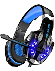 BENGOO [Updated] Stereo Gaming Headset for Xbox One, PS4, PC, Controller, Noise Cancelling Over Ear Headphones with Mic, LED Light, Bass Surround, Soft Memory Earmuffs for Mac Nintendo Switch