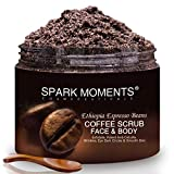 Body Scrub Coffee Carer Natural Arabica Coffee Beans 340g/12oz Sweet Almond Oil,Jojoba, Shea Butter Face Body Cellulite Remove, Stretch Marks Removal with Spoon
