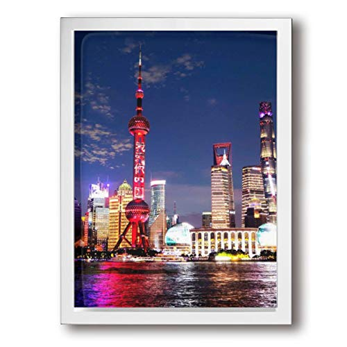 LxeSer Shanghai High-Rise Building Nice Night Scene In Night Wall Art Wall Decorations Giclee For Bedroom Hallway Stretched And Framed 12