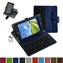 """Acer Iconia ONE 7 B1-750 Micro USB Keyboard Case,Mama Mouth Rotary Stand PU Leather Case Cover With Removable Micro USB Keyboard for 7"""""""" Acer Iconia ONE 7 B1-750 Android Tablet,Dark Blue"""