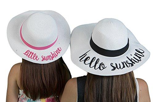 H-17-LHS09-09 Little/Hello Sunshine Sun Hat Bundle - Mom (White) Girl (White) ()