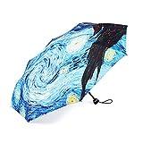 Tuersuer Warm and Beautiful Umbrellas Van Gogh Starry Night Painting Sun Rain Folding UV Protection Umbrellas for Women Men Kids