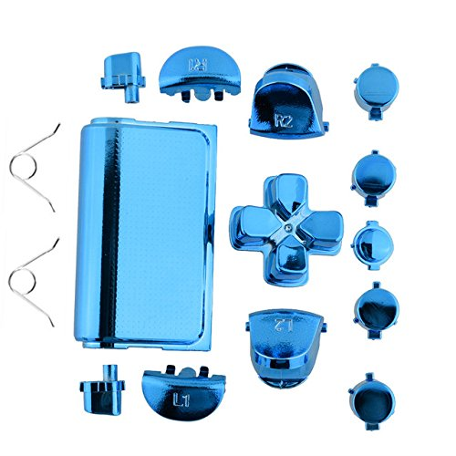 Jadebones Chrome Plating Replacement Repair Buttons with 2 Springs Set for PS4 Controller DualShock 4 (Blue)