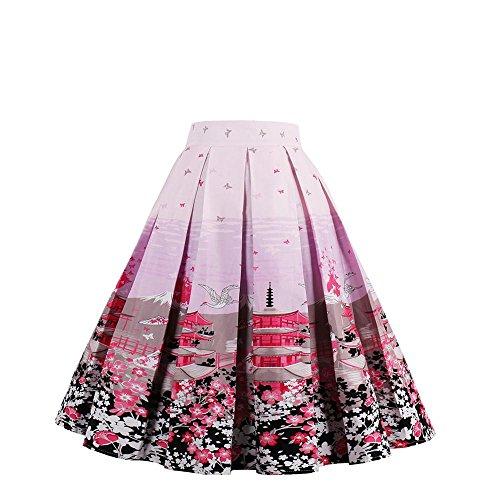 Style Ligne Taille Haute Jupe Jupe de Jupe Jupe 50 Pliss Imprime NALATI de Evas VintageJupe Jupe Swing Annes Rose Femme Floraux Jupe A wqvTI0S