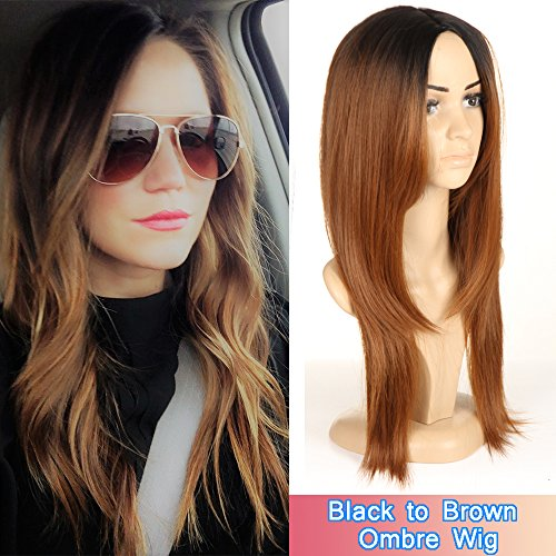 Brown Ombre Wigs For Women Long Straight Wigs Black Roots Wig by Ifolder