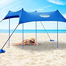 UMARDOO Family Beach Sunshade with 4 Sand Anchors,4 Aluminum Poles & Carring Bag,UPF 50+ (Blue, 10x9 ft)