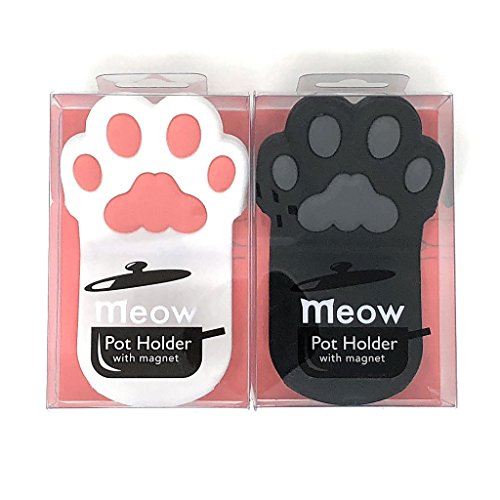 Cat Pot Holder (Cat Paw Silicone Pot Holder with Magnet, Black and White Paws (2 Grips B&W Set))