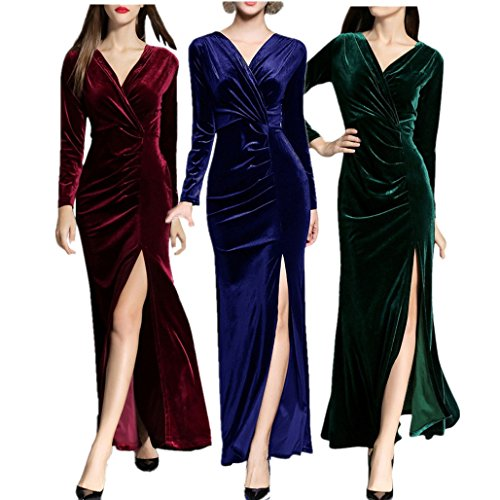 Birdfly Womens Long Sleeve Maxi Evening Dress with Slit Sexy V-Neck Gowns for Fall Party Cocktail Formals