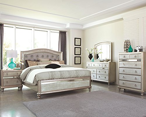New Bling Game 4pc Bedroom Furniture Glamorous Set Classic Metallic Finish Tufted HB Eastern King Size Bed w Dresser Mirror (Bedroom King Size Table)