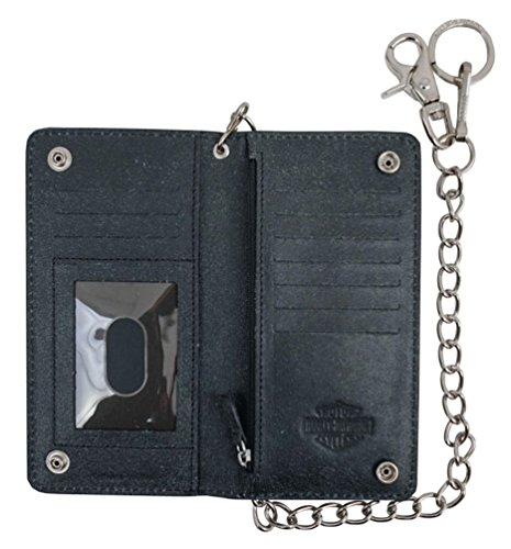 Leather Davidson GRYBLK Men's Skull UN4602L Wallet Harley Tall Fold Bi Graphite Fqgxw1