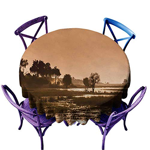 Round Solid Polyester Tablecloth,Okavango Delta - Sunset,for Events Party Restaurant Dining Table Cover,67 INCH