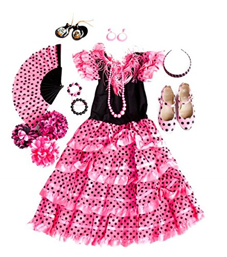 0505c4743 La Senorita Spanish Flamenco Dress Costume – Girls / Kids – Pink / Black