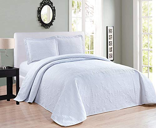 Elegant Home Beautiful Over Sized White Solid Color Embossed Floral Striped 2 Piece Twin / Twin XL Size Coverlet Bedspread (Twin / Twin XL, White)