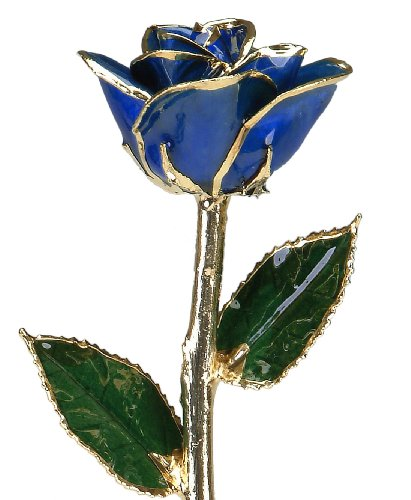 Allmygold Jewelers Sapphire Blue Laquered 24k Gold Dipped Long Stem Genuine Rose In Gift Box