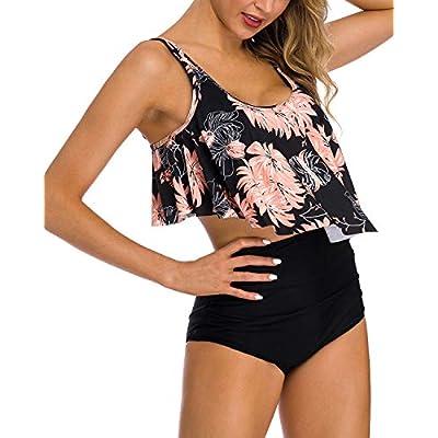 Coskaka Women's High Neck Two Piece Bathing Suits Top Ruffled High Waist Swimsuit Tankini Bikini Sets at Women's Clothing store