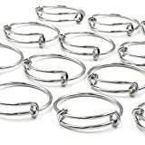 Everdream 50 pcs Adjustable Wire Blank Finger Ring Expandable Stainless Steel