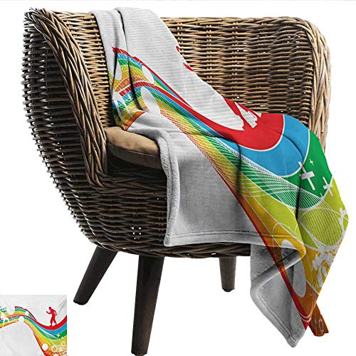 (EwaskyOnline Vintage Rainbow Baby Blanket Abstract Wave with Men Silhouettes Circles Stripes Dots Futuristic Style Recliner Throw,Couch Throw, Couch wrap 84