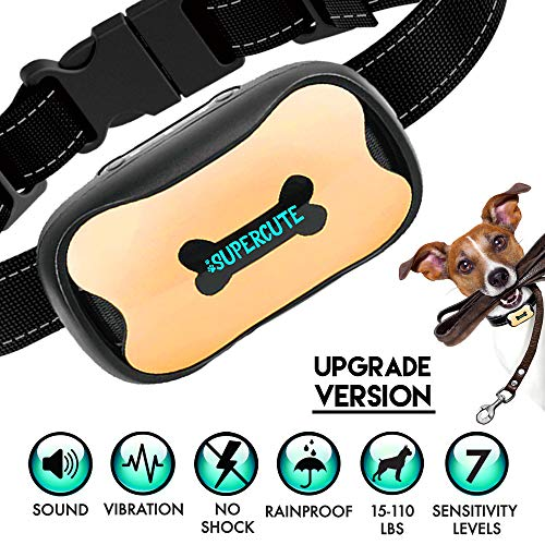 SUPERCUTE - Upgrade Version, Dog Bark Collar, No Shock Dog Collar, Anti Barking Training Device for Small Medium Large Dogs, Stop, Dog Barking Control Device, Sound and Vibration, Pet Collars For Dogs