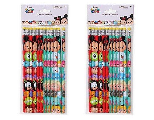 2-Pack Set 12ct Disney Tsum Tsum Wood #2 Pencils (24 Total)